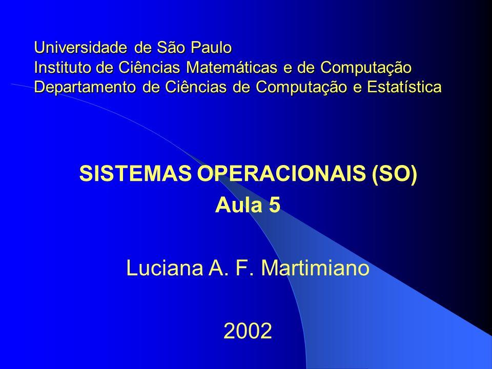 SISTEMAS OPERACIONAIS (SO) Aula 5 Luciana A. F. Martimiano 2002