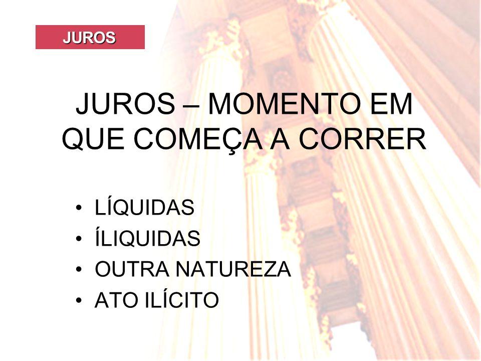 JUROS – MOMENTO EM QUE COMEÇA A CORRER