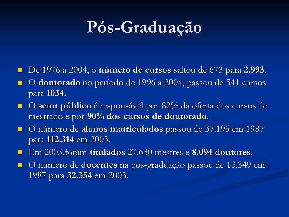 Pós-Graduação De 1976 a 2004, o número de cursos saltou de 673 para 2.993. O doutorado no período de 1996 a 2004, passou de 541 cursos para 1034.