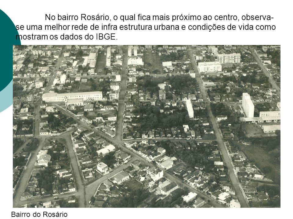 No bairro Rosário, o qual fica mais próximo ao centro, observa-se uma melhor rede de infra estrutura urbana e condições de vida como mostram os dados do IBGE.