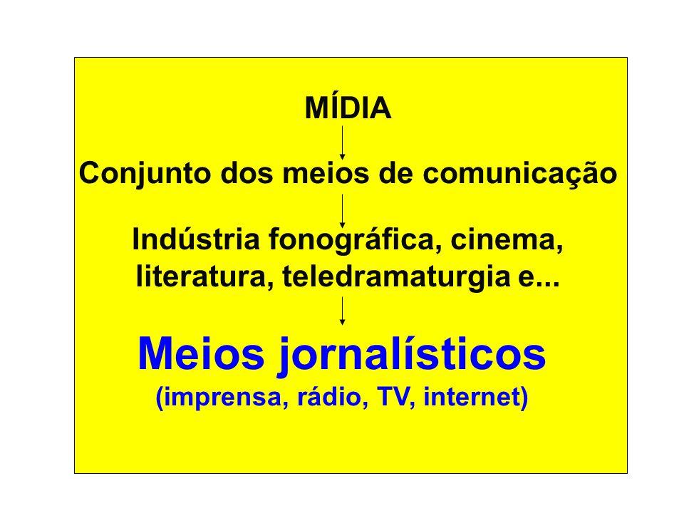 Meios jornalísticos (imprensa, rádio, TV, internet)