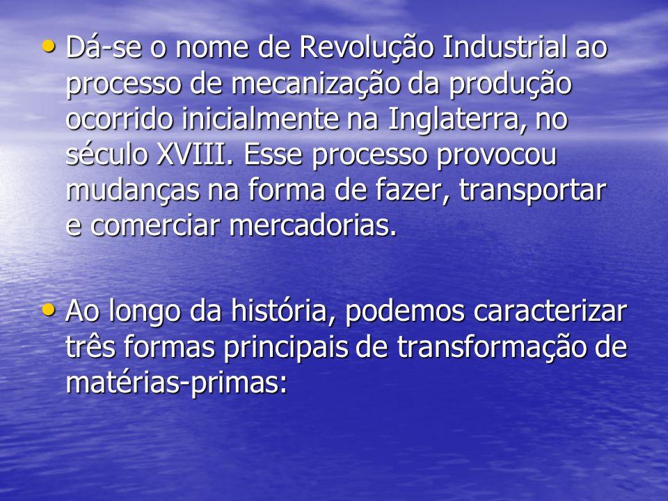 Dá-se o nome de Revolução Industrial ao processo de mecanização da produção ocorrido inicialmente na Inglaterra, no século XVIII. Esse processo provocou mudanças na forma de fazer, transportar e comerciar mercadorias.