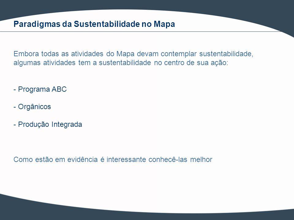 Paradigmas da Sustentabilidade no Mapa