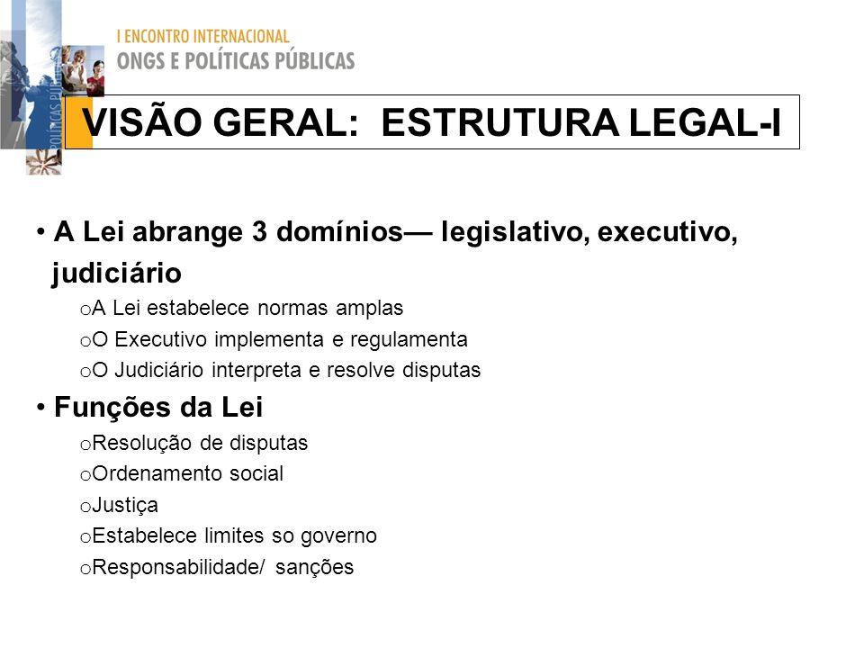 VISÃO GERAL: ESTRUTURA LEGAL-I