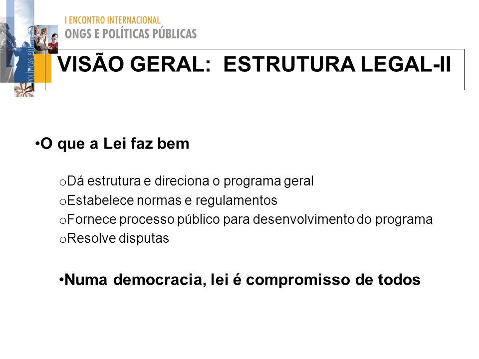 VISÃO GERAL: ESTRUTURA LEGAL-II