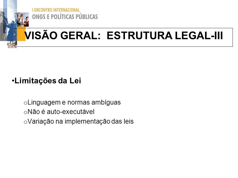 VISÃO GERAL: ESTRUTURA LEGAL-III