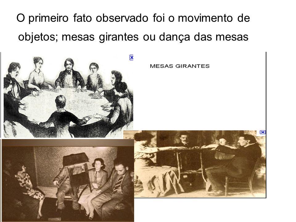 O primeiro fato observado foi o movimento de objetos; mesas girantes ou dança das mesas