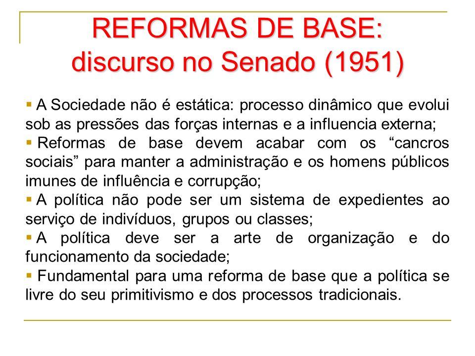 REFORMAS DE BASE: discurso no Senado (1951)