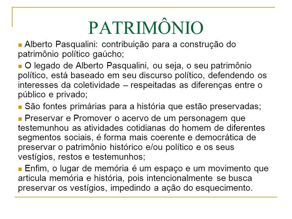 PATRIMÔNIO Alberto Pasqualini: contribuição para a construção do patrimônio político gaúcho;