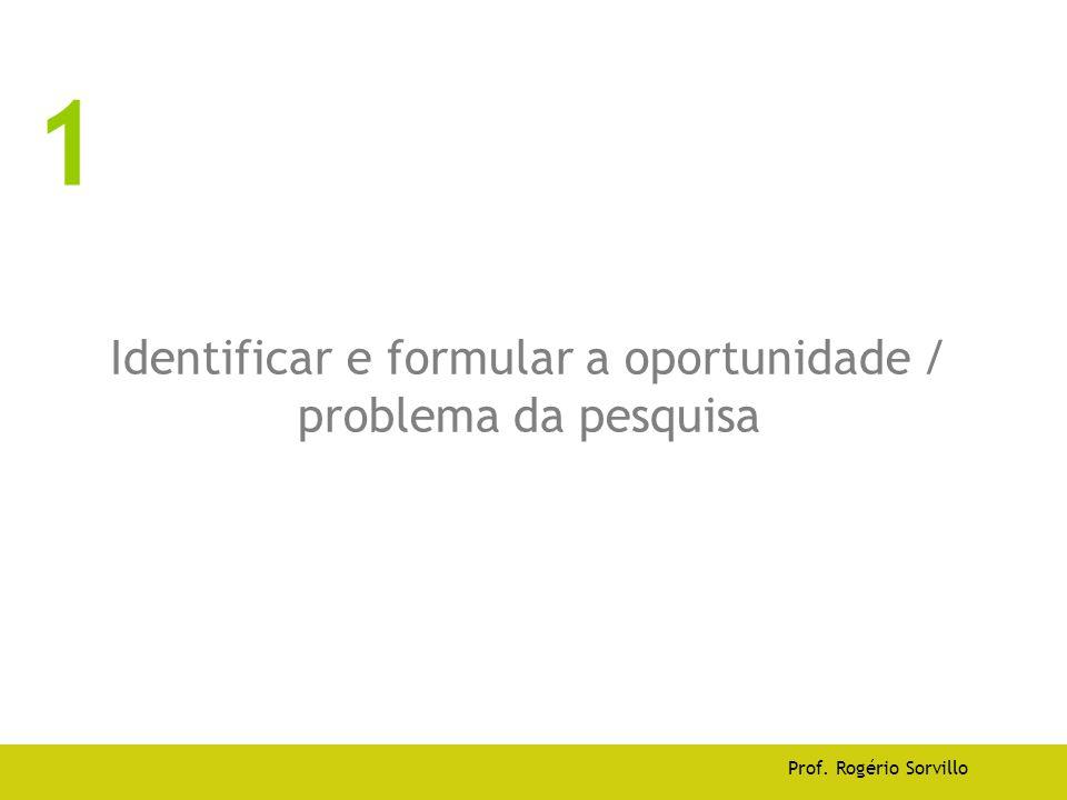 Identificar e formular a oportunidade / problema da pesquisa