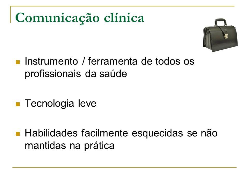 Comunicação clínica Instrumento / ferramenta de todos os profissionais da saúde. Tecnologia leve.