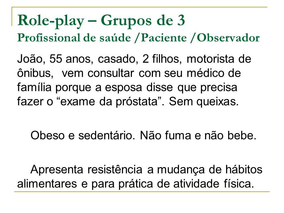 Role-play – Grupos de 3 Profissional de saúde /Paciente /Observador