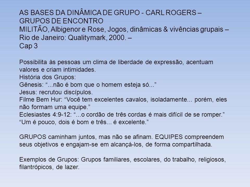AS BASES DA DINÂMICA DE GRUPO - CARL ROGERS – GRUPOS DE ENCONTRO