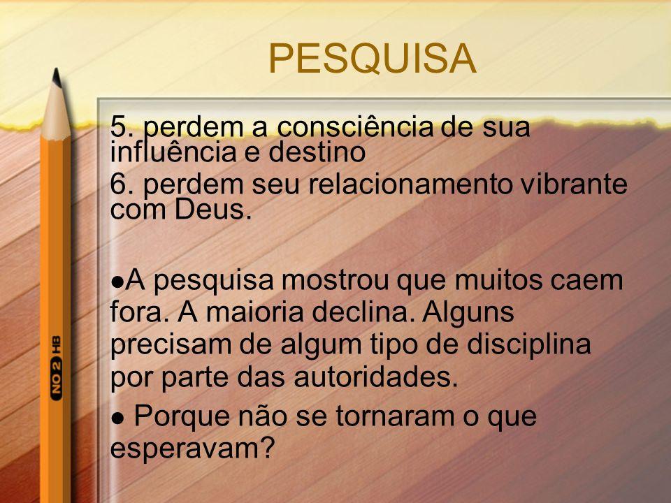 PESQUISA 5. perdem a consciência de sua influência e destino