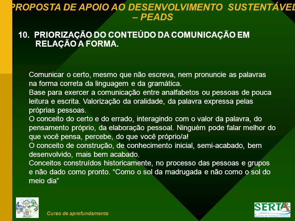 10. PRIORIZAÇÃO DO CONTEÚDO DA COMUNICAÇÃO EM RELAÇÃO A FORMA.