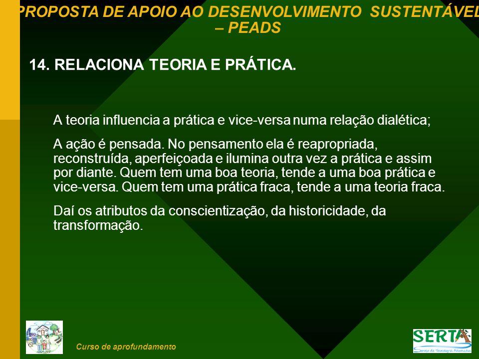 14. RELACIONA TEORIA E PRÁTICA.