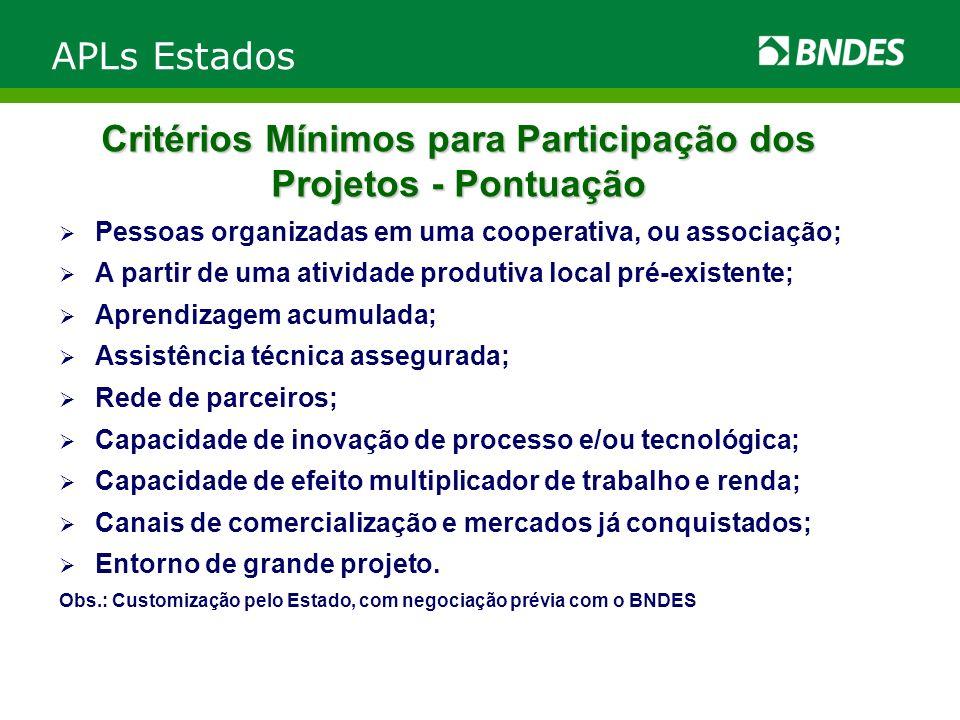 Critérios Mínimos para Participação dos Projetos - Pontuação