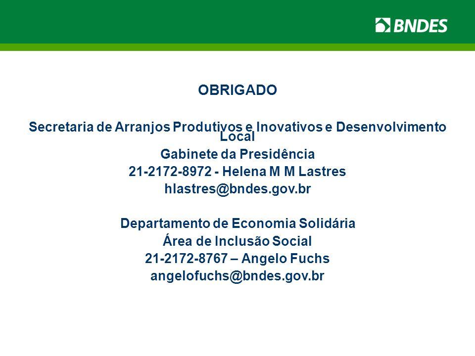 OBRIGADO Secretaria de Arranjos Produtivos e Inovativos e Desenvolvimento Local. Gabinete da Presidência.