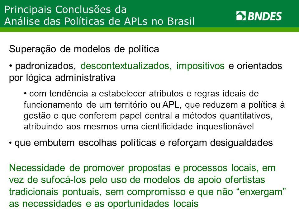 Principais Conclusões da Análise das Políticas de APLs no Brasil