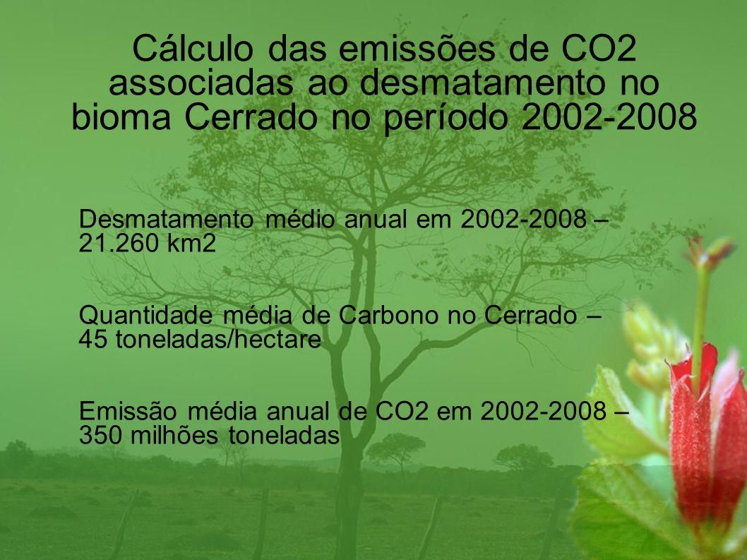 Cálculo das emissões de CO2 associadas ao desmatamento no bioma Cerrado no período 2002-2008