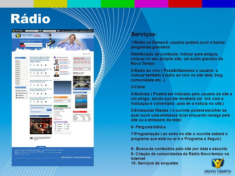 Rádio Serviços: 1-Radio on Demand- usuário poderá ouvir e baixar programas gravados.