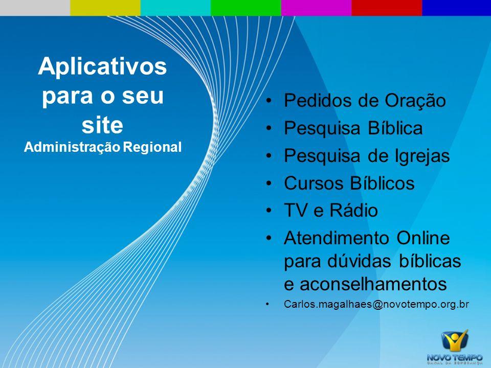 Aplicativos para o seu site Administração Regional