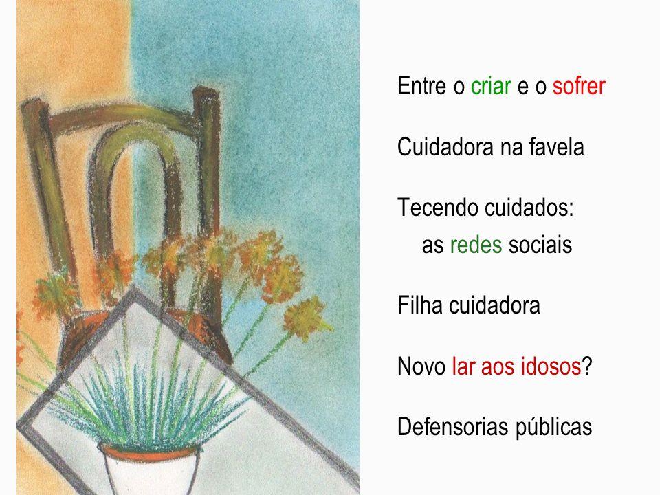 Entre o criar e o sofrer Cuidadora na favela. Tecendo cuidados: as redes sociais. Filha cuidadora.