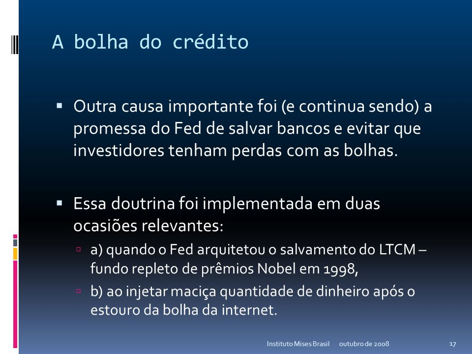 A bolha do crédito