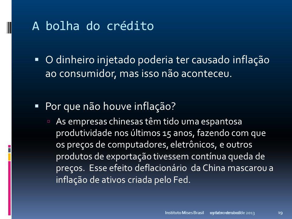 A bolha do créditoO dinheiro injetado poderia ter causado inflação ao consumidor, mas isso não aconteceu.