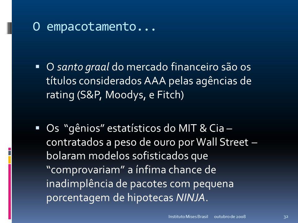 O empacotamento...O santo graal do mercado financeiro são os títulos considerados AAA pelas agências de rating (S&P, Moodys, e Fitch)