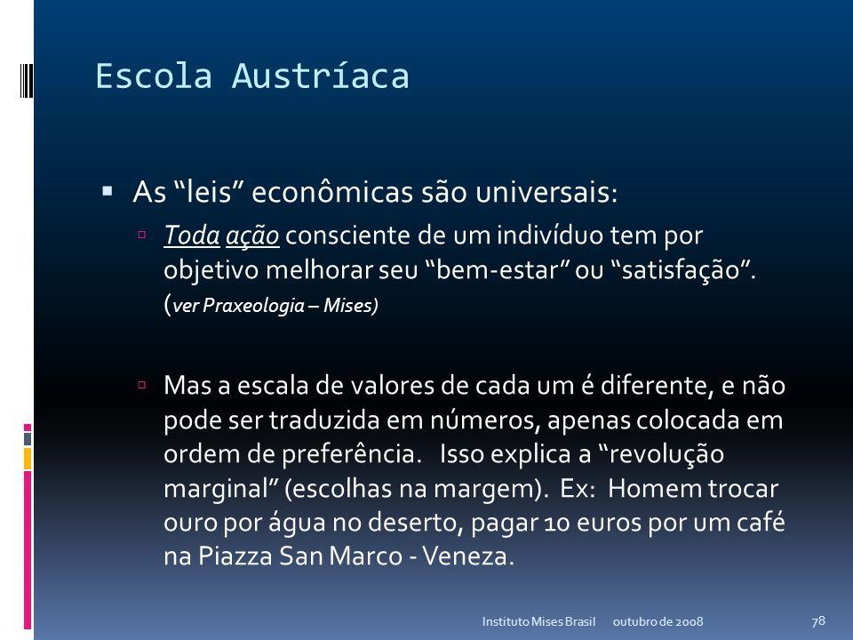 Escola Austríaca As leis econômicas são universais:
