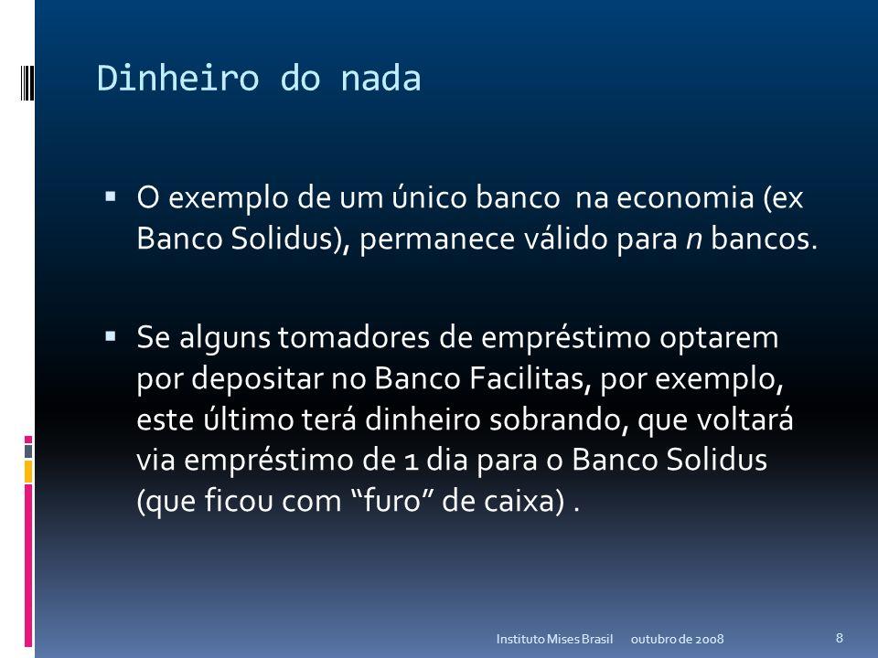 Dinheiro do nada O exemplo de um único banco na economia (ex Banco Solidus), permanece válido para n bancos.