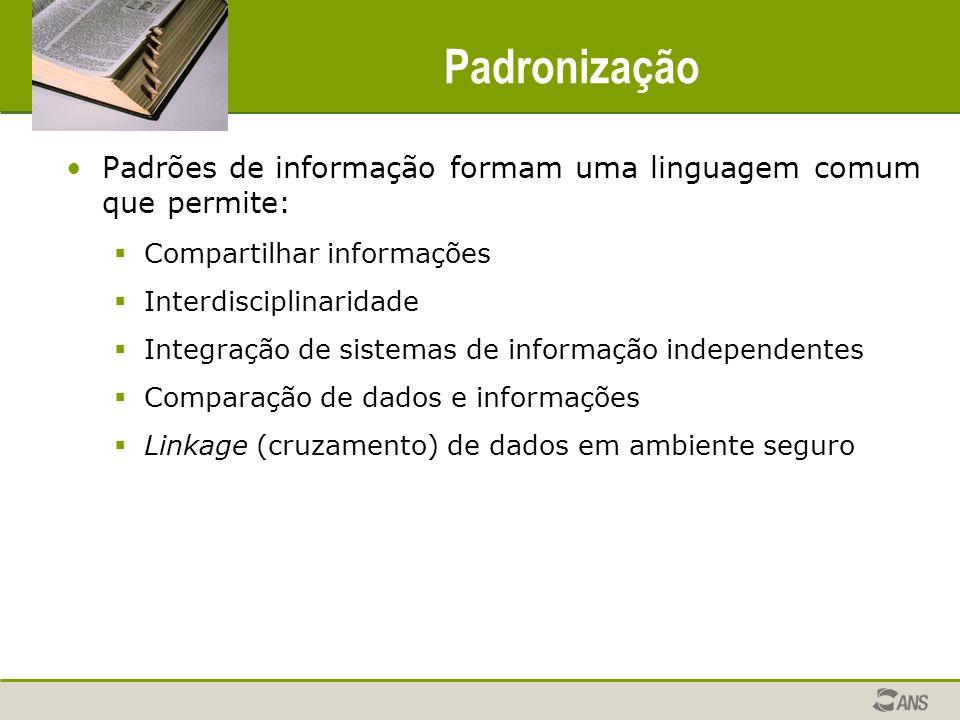 Padronização Padrões de informação formam uma linguagem comum que permite: Compartilhar informações.
