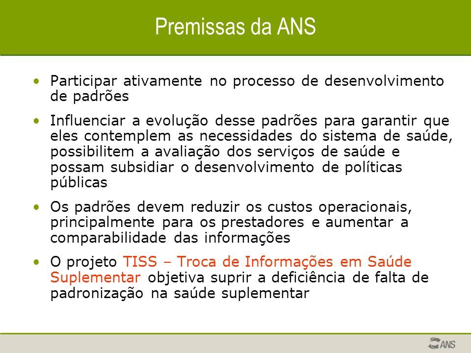 Premissas da ANS Participar ativamente no processo de desenvolvimento de padrões.