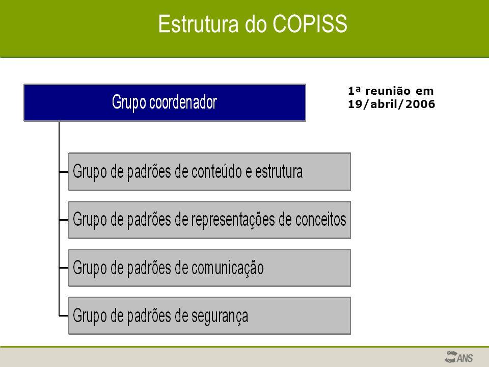 Estrutura do COPISS 1ª reunião em 19/abril/2006