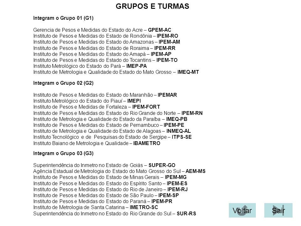 GRUPOS E TURMAS Voltar Sair Integram o Grupo 01 (G1)