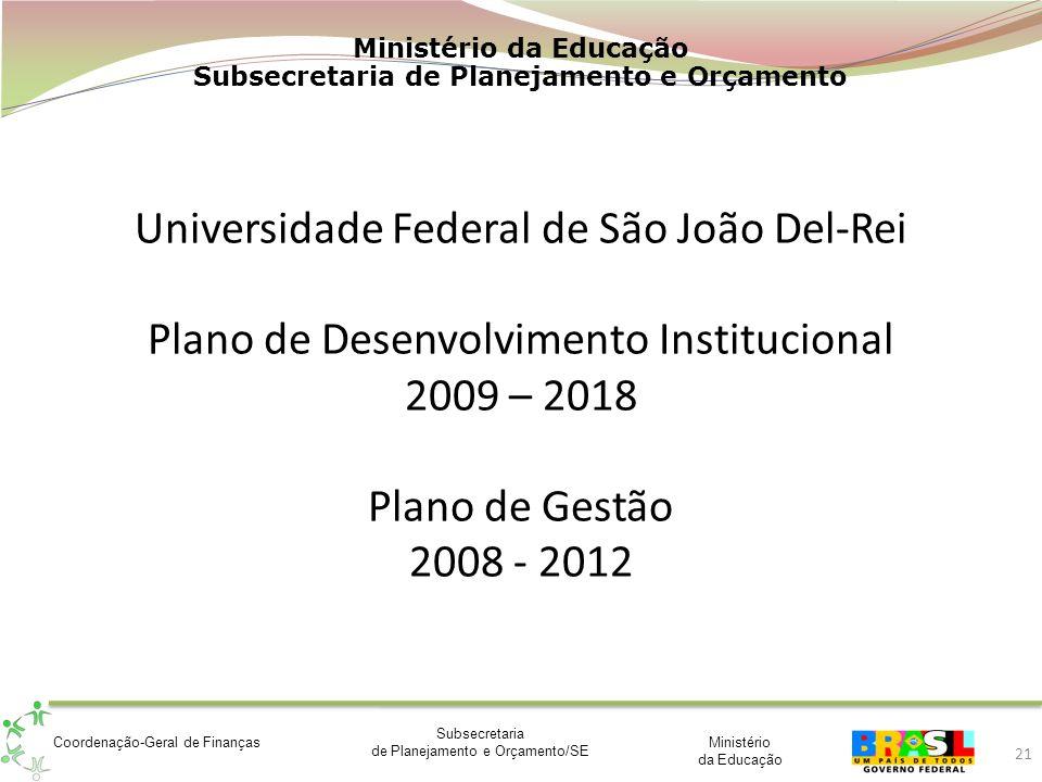 Universidade Federal de São João Del-Rei Plano de Desenvolvimento Institucional 2009 – 2018 Plano de Gestão 2008 - 2012