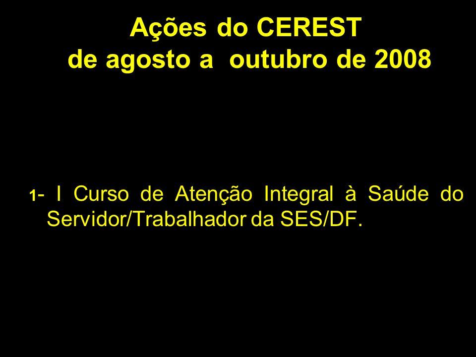 Ações Ações do CEREST de agosto a outubro de 2008