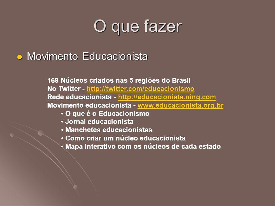 O que fazer Movimento Educacionista
