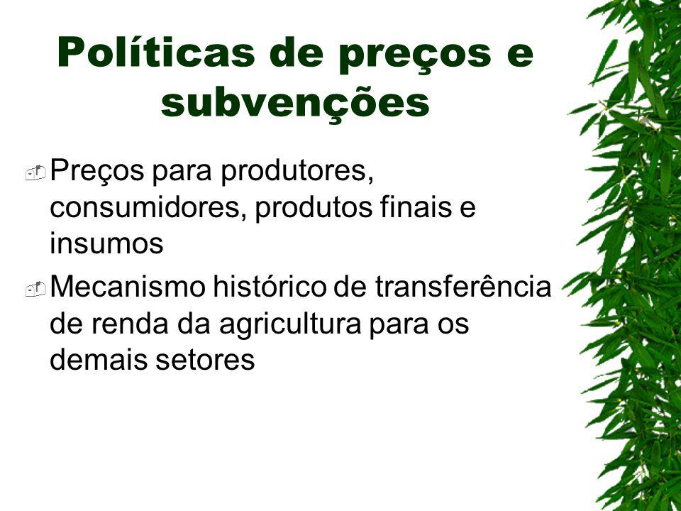 Políticas de preços e subvenções