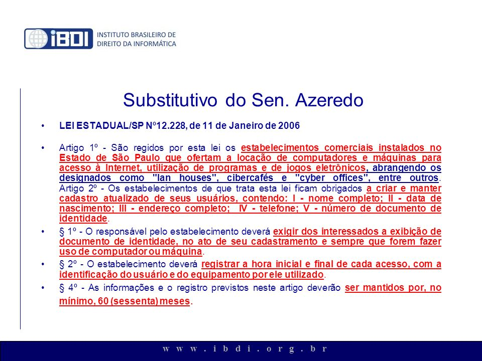 Substitutivo do Sen. Azeredo