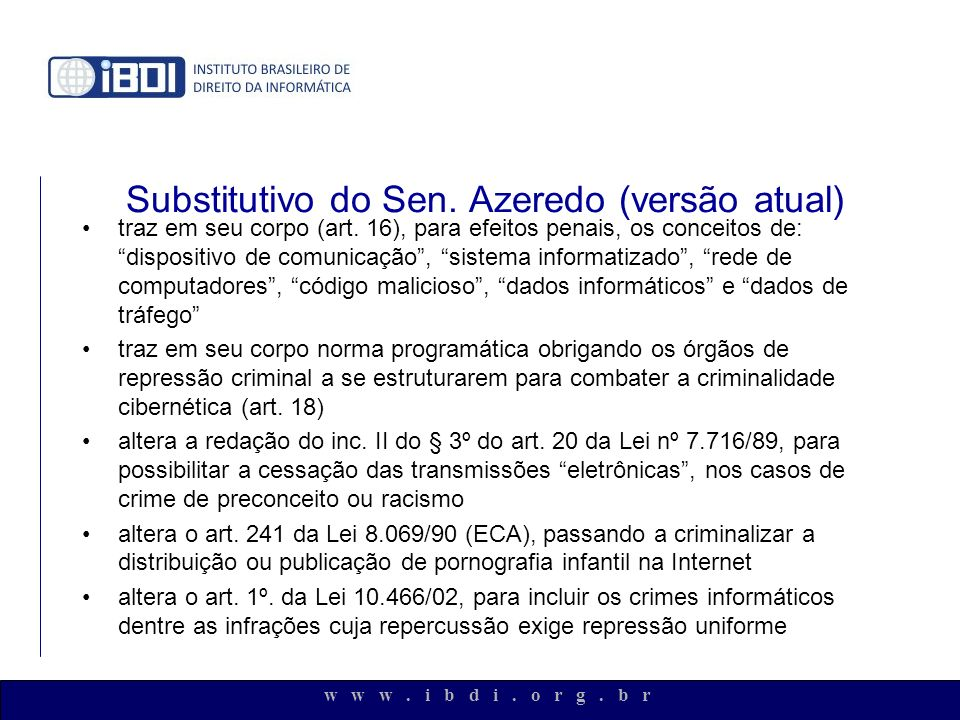 Substitutivo do Sen. Azeredo (versão atual)