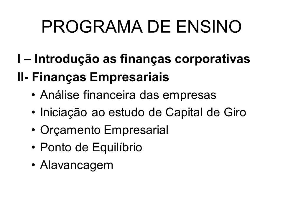 PROGRAMA DE ENSINO I – Introdução as finanças corporativas