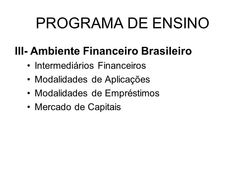 PROGRAMA DE ENSINO III- Ambiente Financeiro Brasileiro