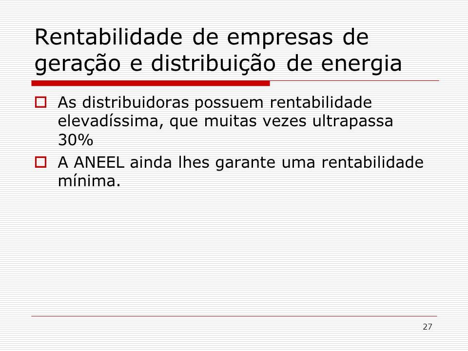 Rentabilidade de empresas de geração e distribuição de energia