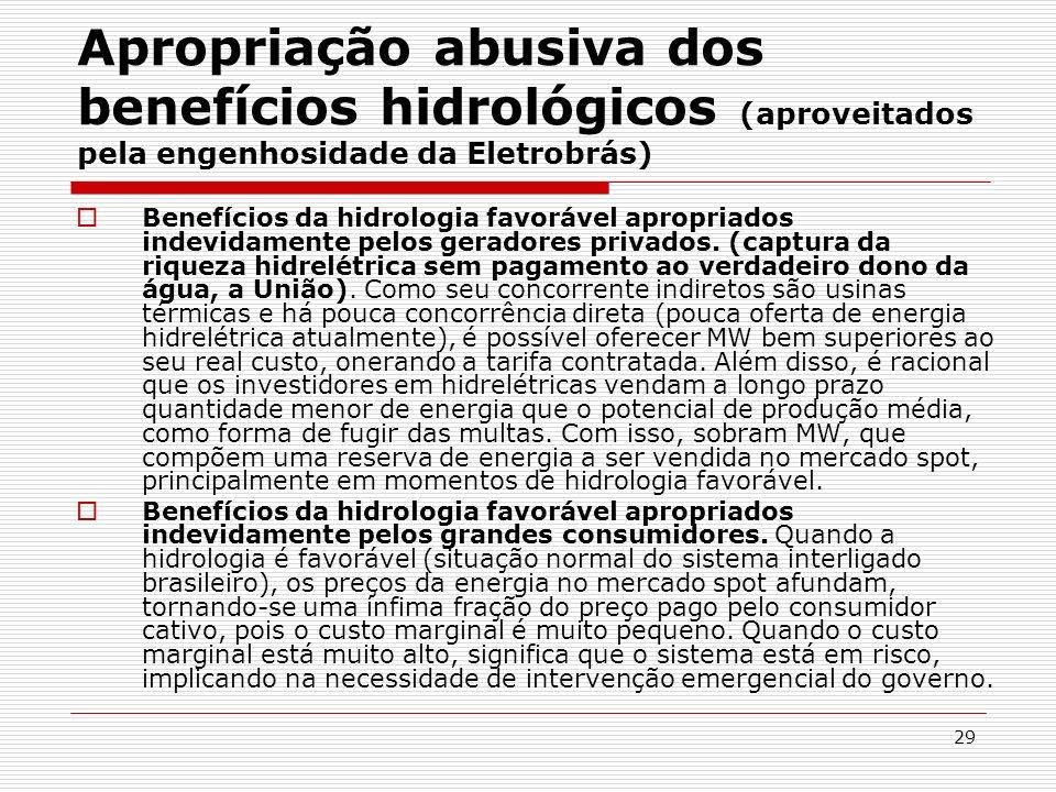 Apropriação abusiva dos benefícios hidrológicos (aproveitados pela engenhosidade da Eletrobrás)
