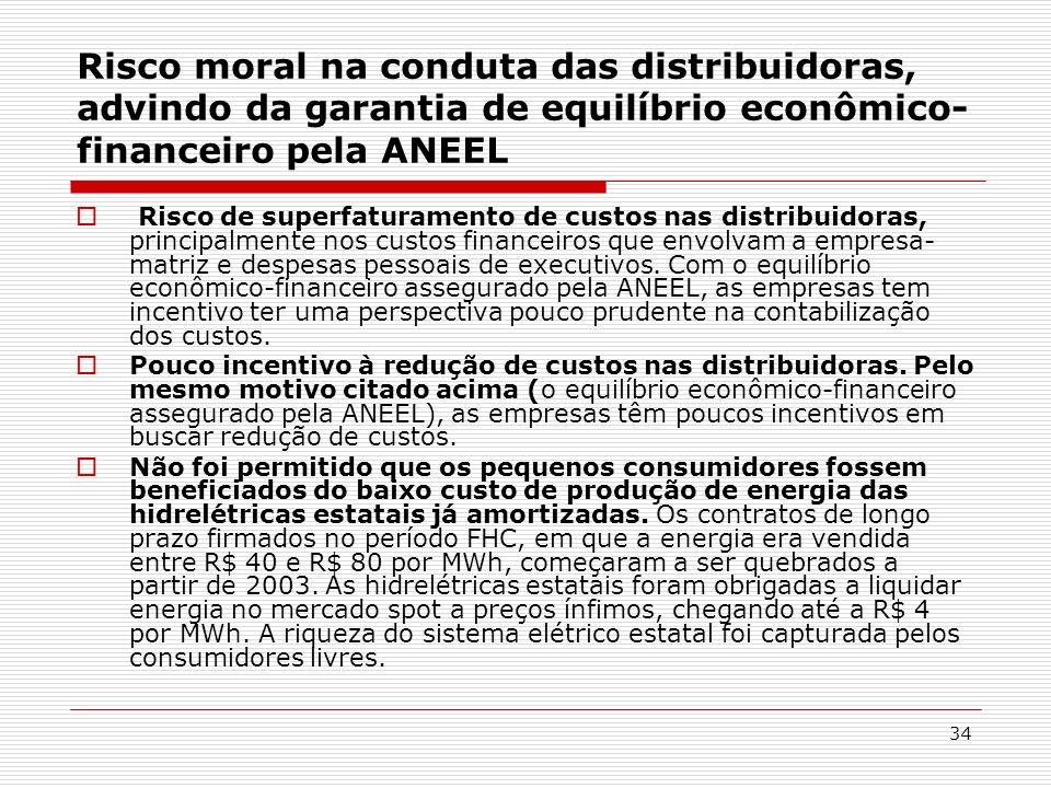 Risco moral na conduta das distribuidoras, advindo da garantia de equilíbrio econômico-financeiro pela ANEEL