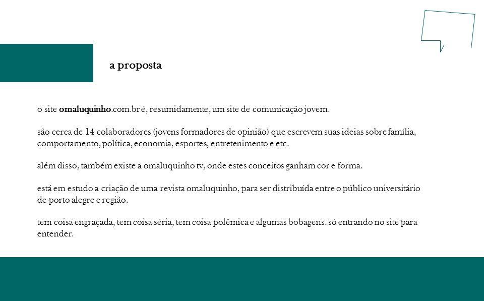 a proposta o site omaluquinho.com.br é, resumidamente, um site de comunicação jovem.