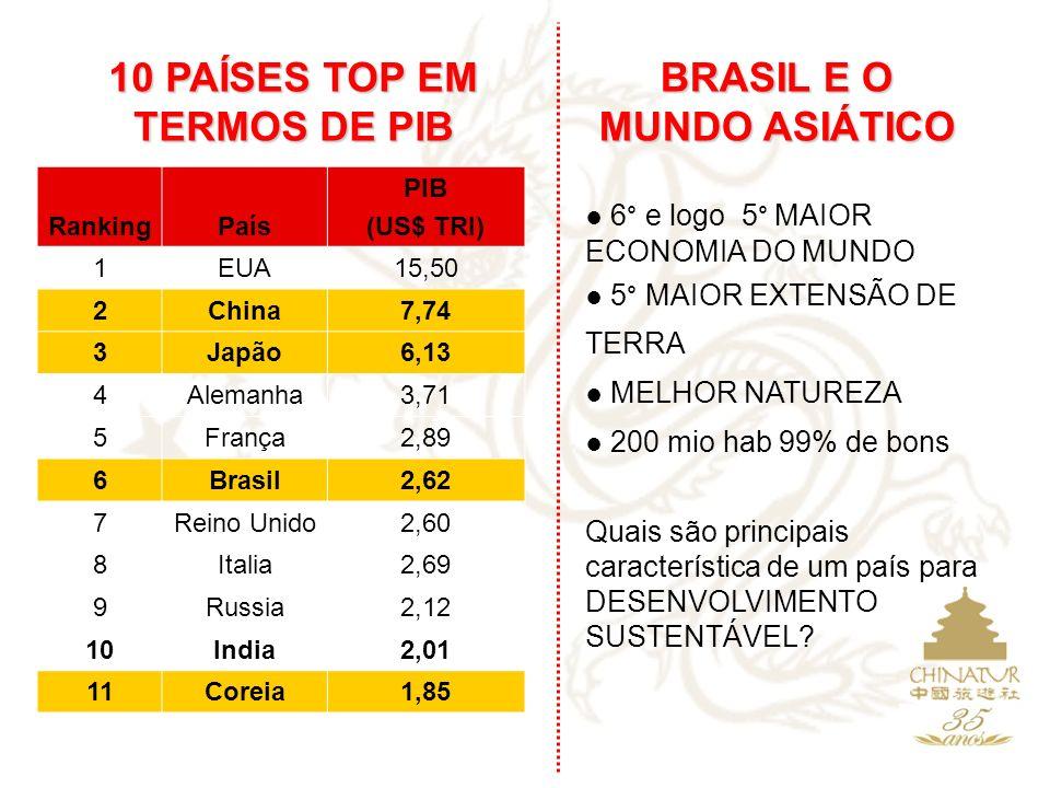 10 PAÍSES TOP EM TERMOS DE PIB BRASIL E O MUNDO ASIÁTICO