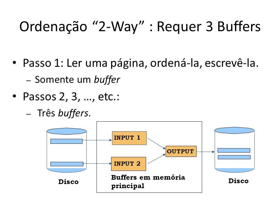 Ordenação 2-Way : Requer 3 Buffers